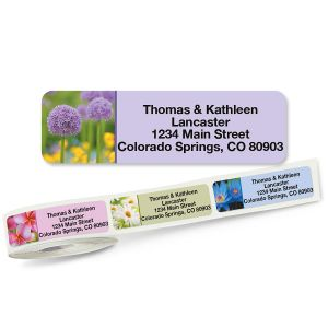 Floral Fantasy Rolled Return Address Labels  (5 Designs)