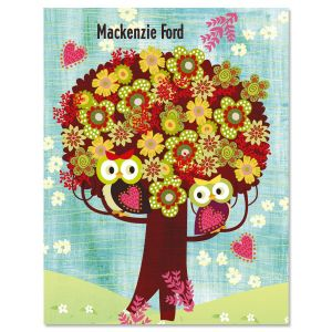 Floral Tree Owls Personalized Note Cards