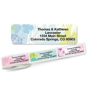 Floret Rolled Return Address Labels  (5 Designs)