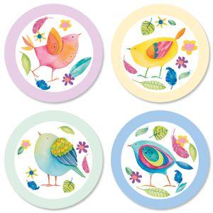 Cheerful Chirping Round Return Address Labels (4 Designs)