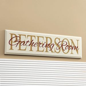 """""""Gathering"""" Room Personalized Wooden Plaque"""