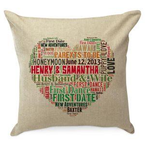 Heart Word Art Personalized Burlap Pillow