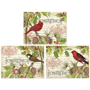 Holly & Birds Thank You Note Cards Buy 1 Get 1 Free