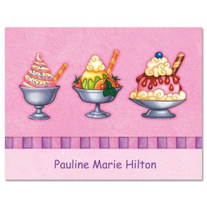 Ice Cream Personalized Note Cards