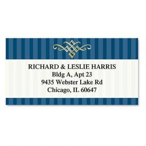 Navy Pinstripe  Foil Border Address Labels