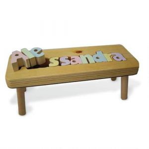 Pastel Letters Personalized  Puzzle Footstool