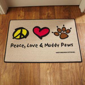 Peace, Love & Muddy Paws Doormat