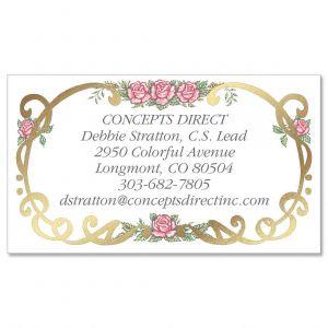 Rose Filigree  Foil Business Cards