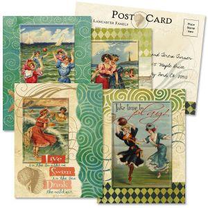 Seaside Collage Correspondence Postcards  (4 Designs)