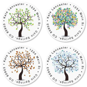 Seasons of Trees Round Address Labels  (4 Designs)