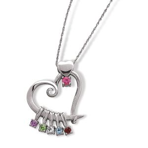 Silver Mother or Grandmother Heart  Birthstone Charms Pendant