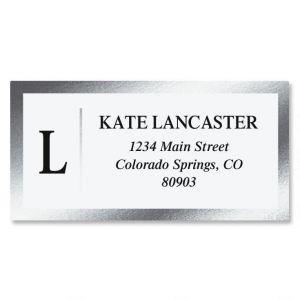 Single Initial Foil Border Return Address Labels