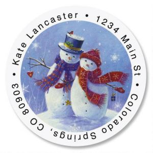 Snowy Snuggles Round Address Labels