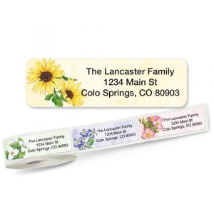 Spring Floral Rolled Return Address Labels  (5 Designs)