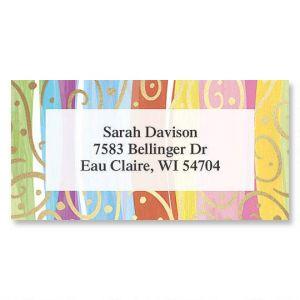 Stripes & Swirls  Foil Border Address Labels