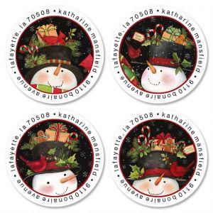 Top Hat Treats Round Return Address Labels  (4 Designs)