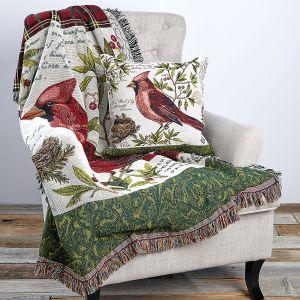 Winter Wonderland Cardinal Cotton Throw & Pillow