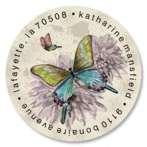 Vintage Butterfly Round Address Labels