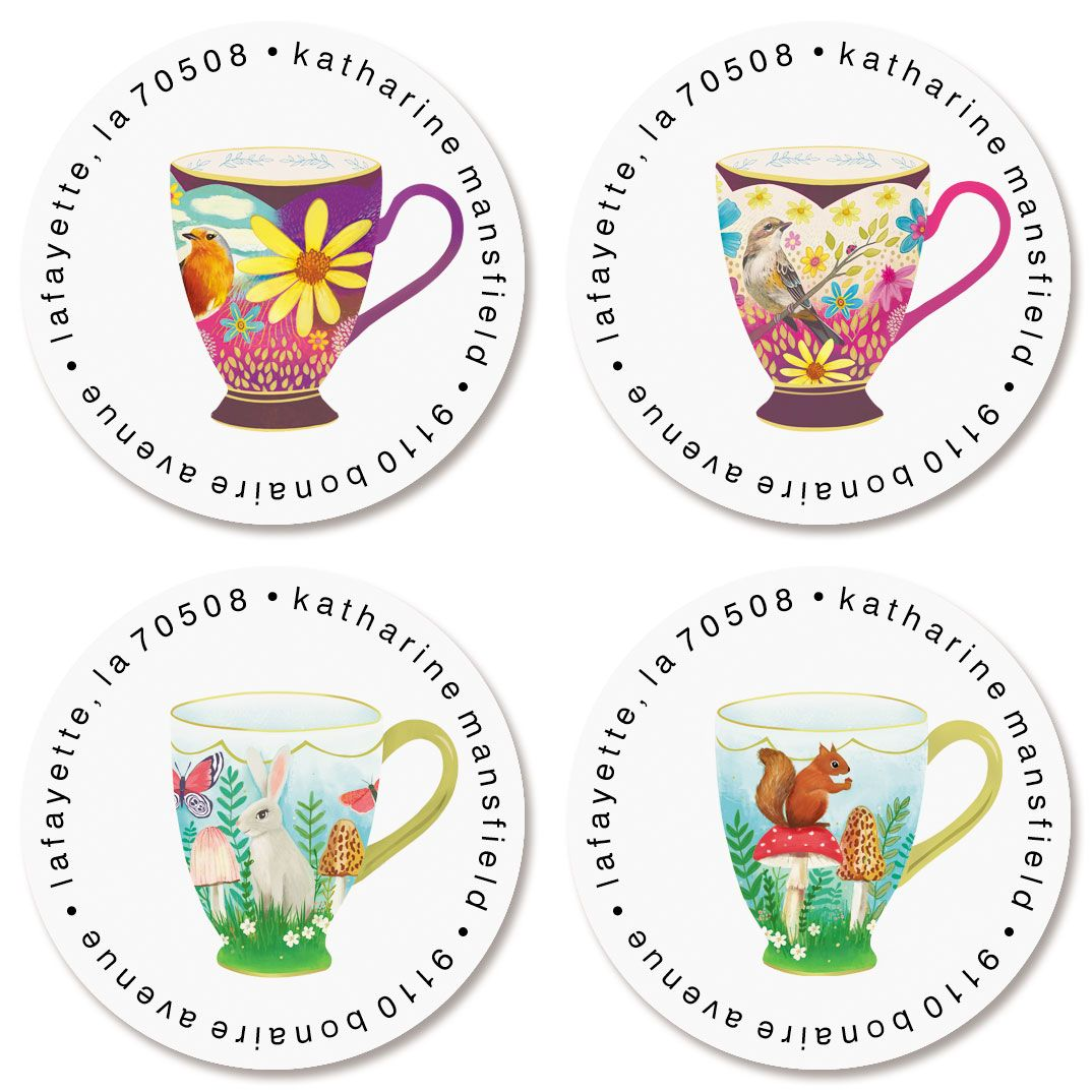Sweet Tea Cups Round Return Address Labels (4 Designs)