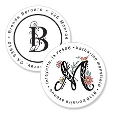 Shop Monogram & Initials Labels at Colorful Images