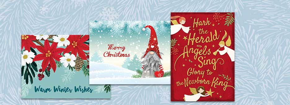 Christmas Cards Labels Matching Envelope Seals Colorful Images